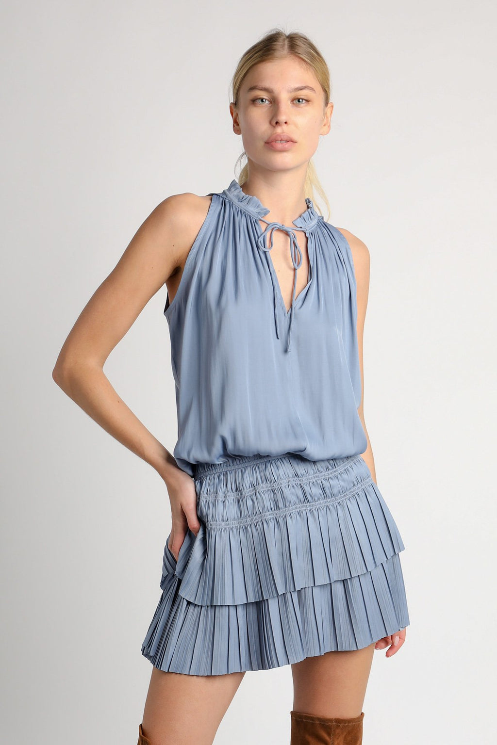 Sleeveless Pleated Mini Dress in Dusty Blue