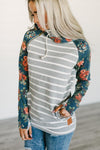 DoubleHood Pullover Hoodie w/ Grey Stripes and Floral Sleeves
