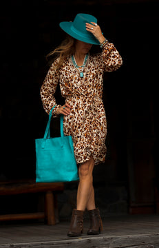 Leopard Printed Faux Wrap Dress
