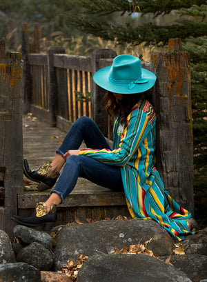Serape Maxi Shirt Dress w/ Cactus Embroidery