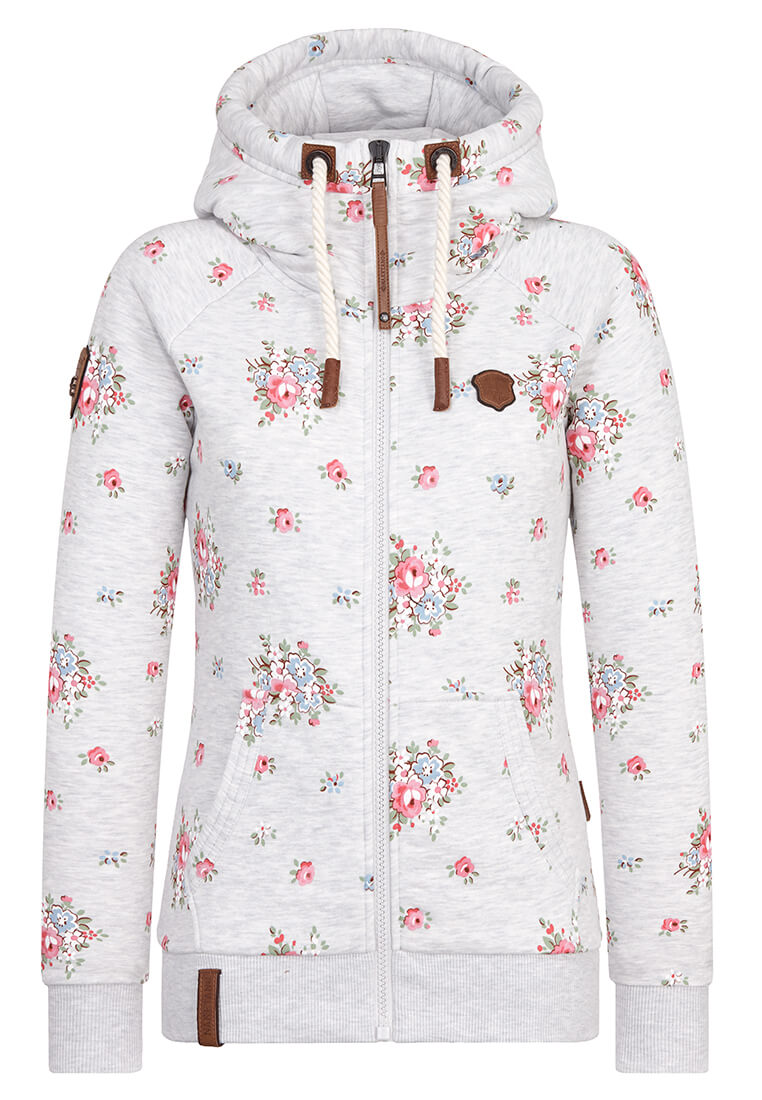 Naketano Zip Up Hoodie w/ All Over Floral Print in Grey Melange