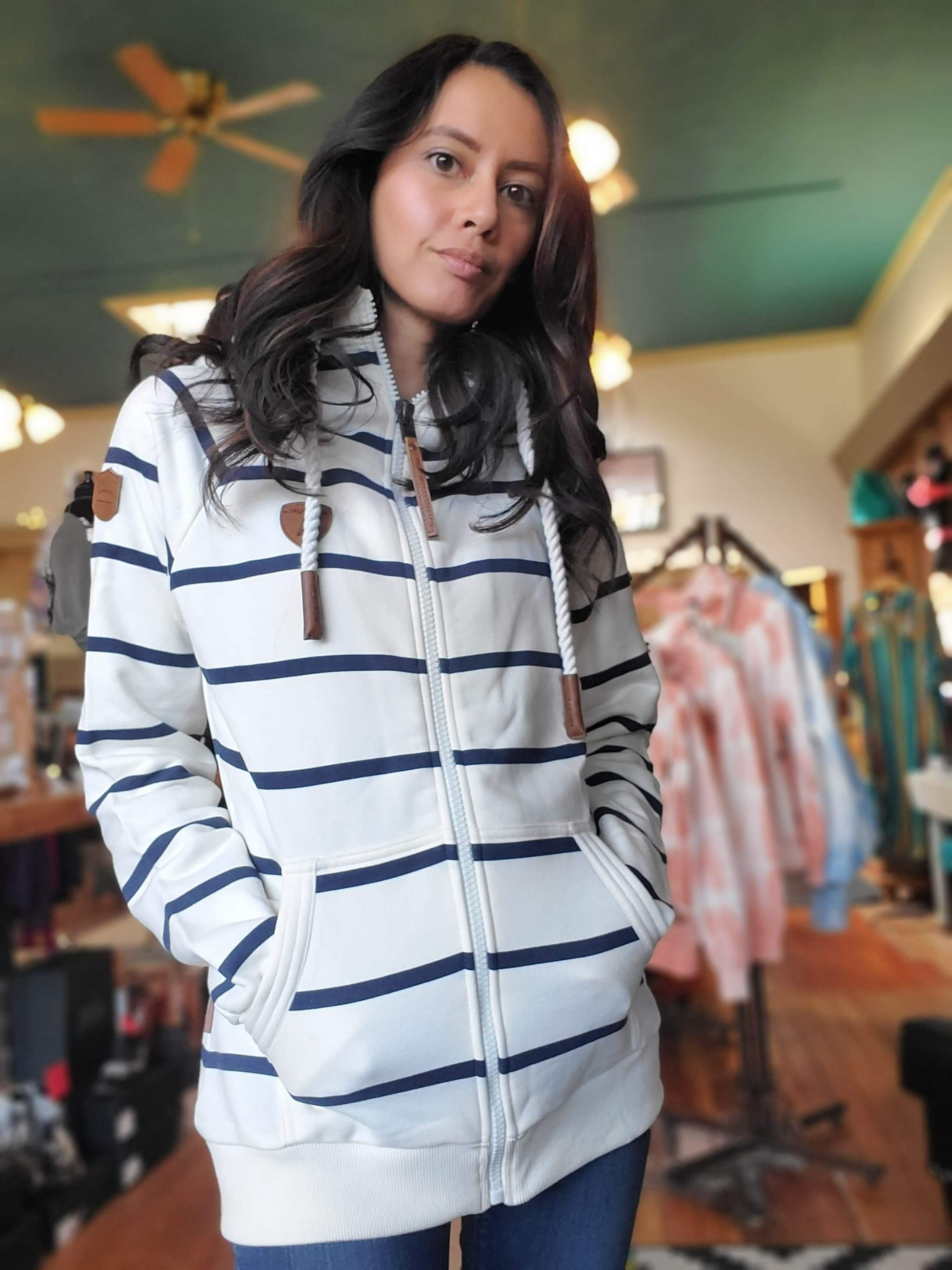 Wanakome Hera Striped Zip Up Hoodie