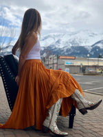 Pleated Flowy Maxi Skirt in Mango paired with Old Gringo Double D Ranch Almost Famous Boots