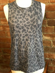 Leopard Print Basic Round Neck Sleeveless Top