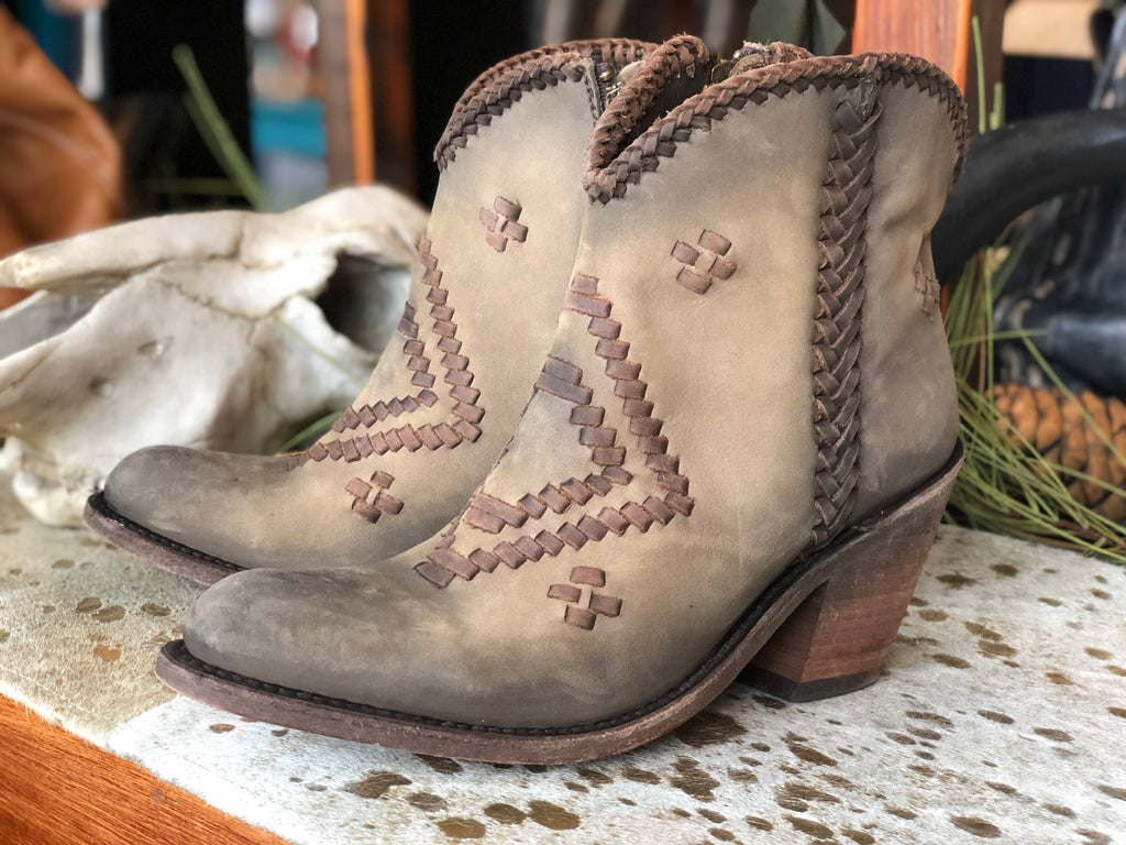 Liberty Black Hope Short Boot in a Stonewashed Vegas Taupe - tempting-teal-boutique
