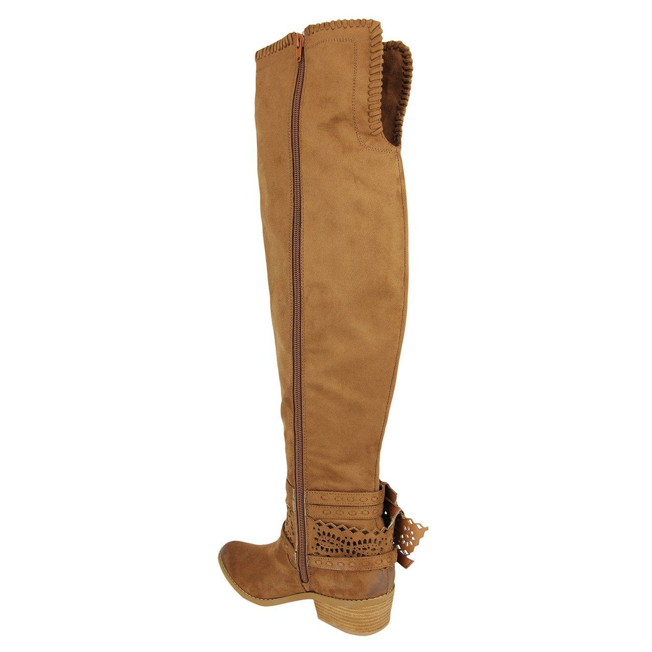 Over the knee tan boots with harness detail back view.