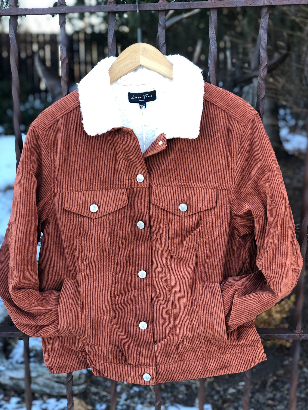 Cinnamon Corduroy Jacket with Sherpa Collar