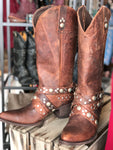 Old Gringo Caryl No Fringe Rust Leather Boot w/ Harness Detail