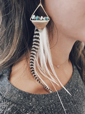Handmade Feather Earrings with Turquoise
