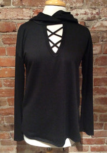 Sweet Claire Black Long Sleeve Hooded Sweater w/ Front Lattice Detail