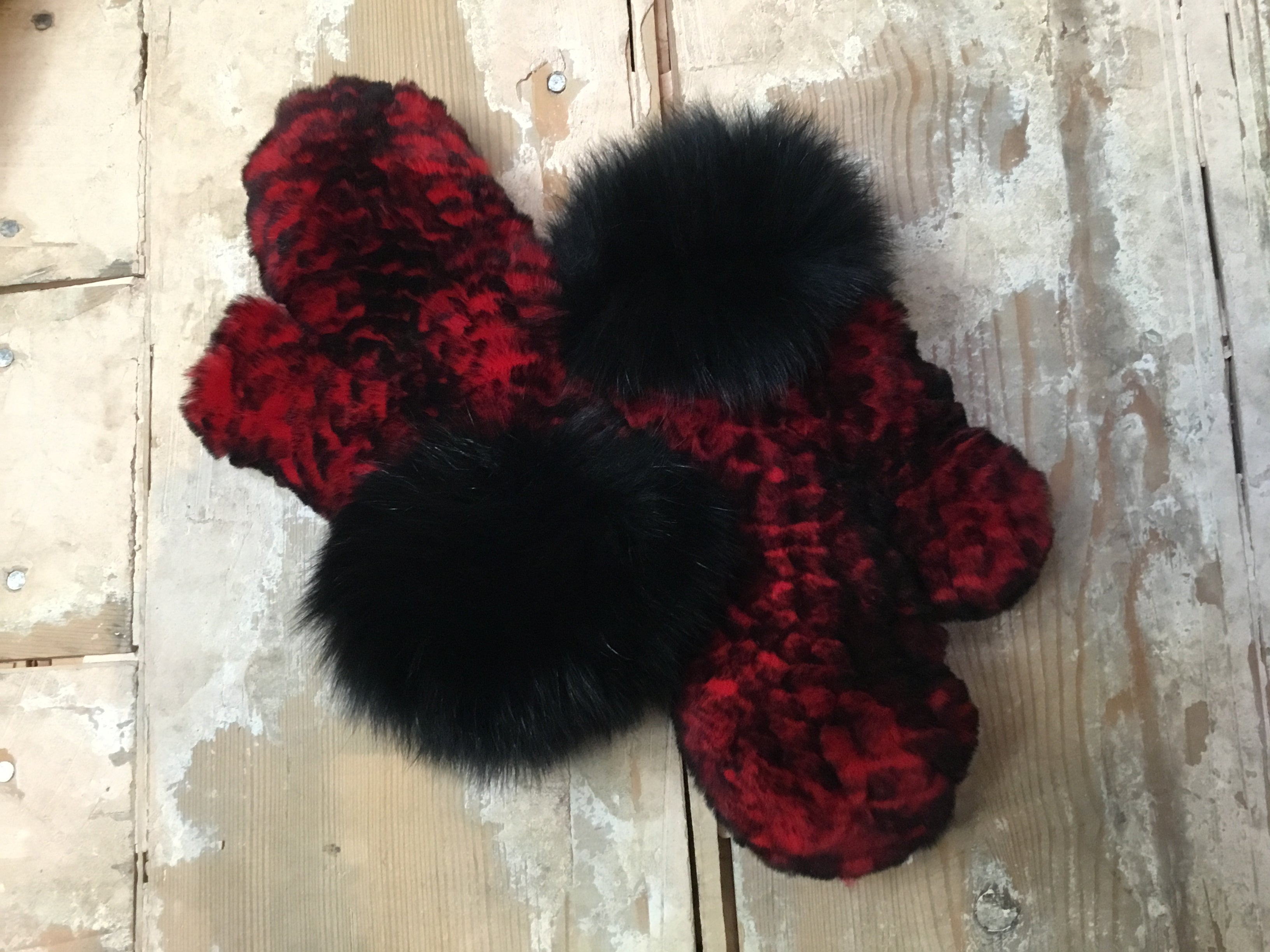 Knitted Mittens with Real Fox Fur in various colors