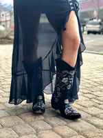 Cowgirl Floral Daze Tall Boot in Navy - tempting-teal-boutique