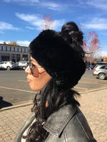 Knitted Rabbit Fur Headband in Black - tempting-teal-boutique