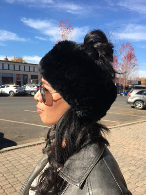 Knitted Real Rabbit Fur Headband/Ear warmer in Black by Morris & Kaye