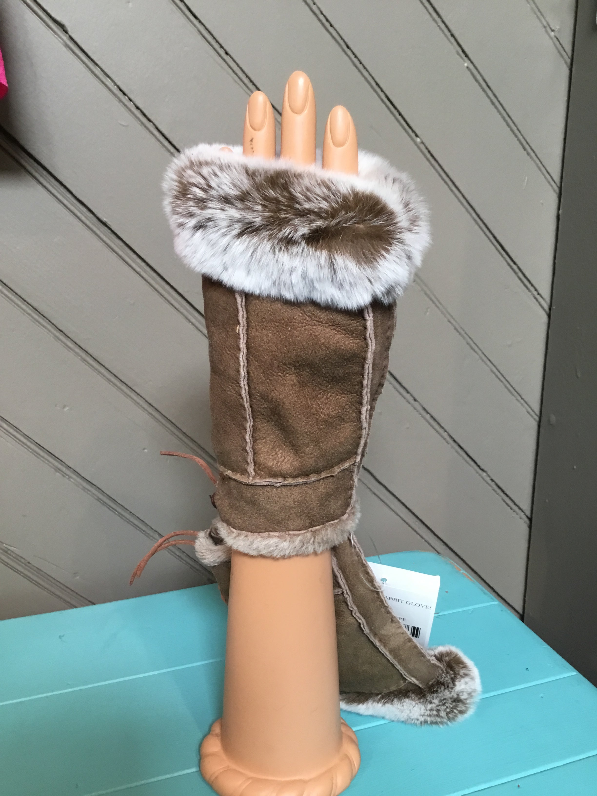 Taupe Shearling Rabbit Fur Gloves