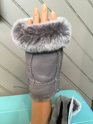 Grey Shearling Rabbit Fur Gloves - tempting-teal-boutique