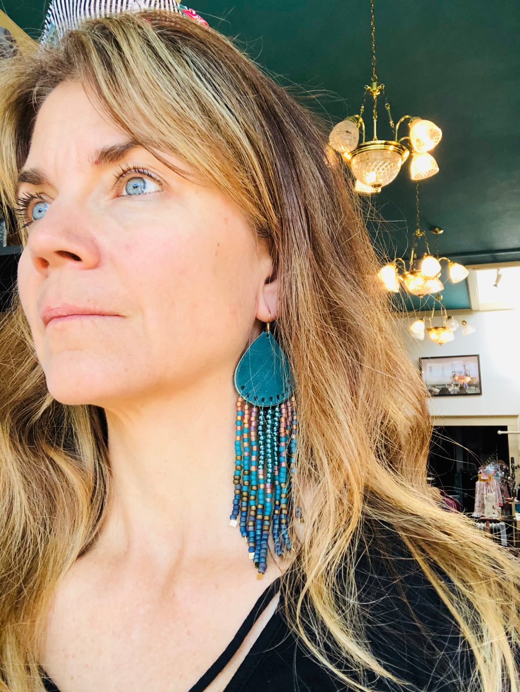 Artisan Boho & Leather Bead Earrings
