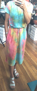 Coral & Mint tie Dye Drawstring Dress