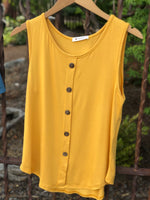 Tank top with faux buttons