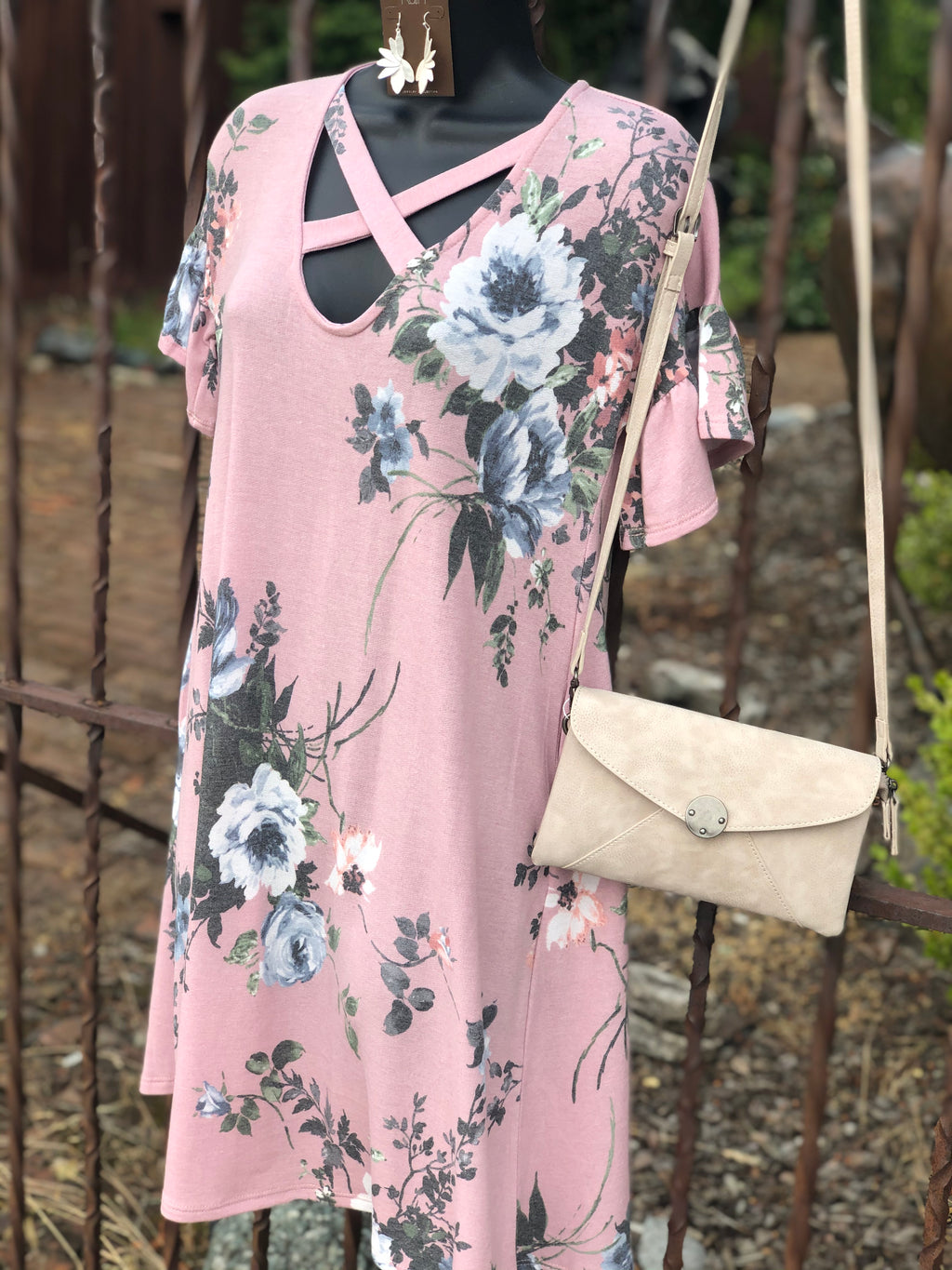Floral Shift Dress in Blush