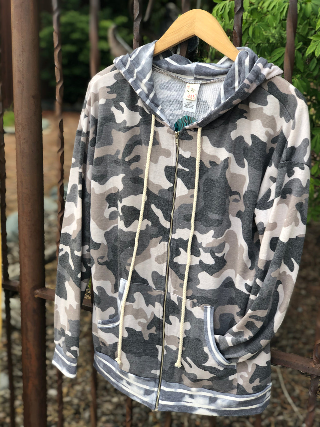 Camo Zip Up Hoodie in Mocha