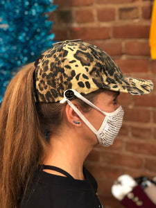 CC Criss Cross Pony Tail Cap With Mask Buttons