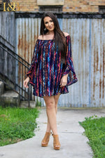 Aztec Print Ruffle Sleeve Off-Shoulder Dress in Pink and Purple