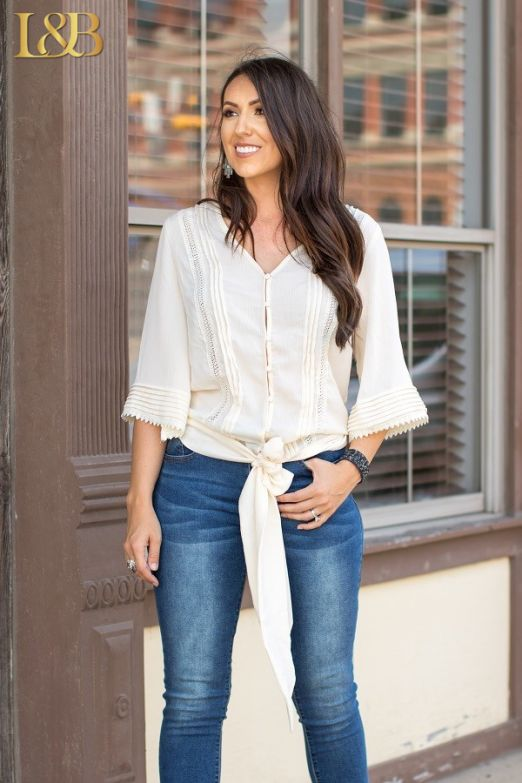 Sleeveless Tie Waist Button Down Top in Ivory