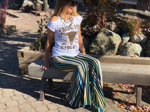 Green Stripe Bells Pants