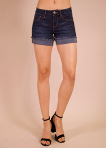Ava Cuffed Shorts in  Dark Stone Wash - tempting-teal-boutique