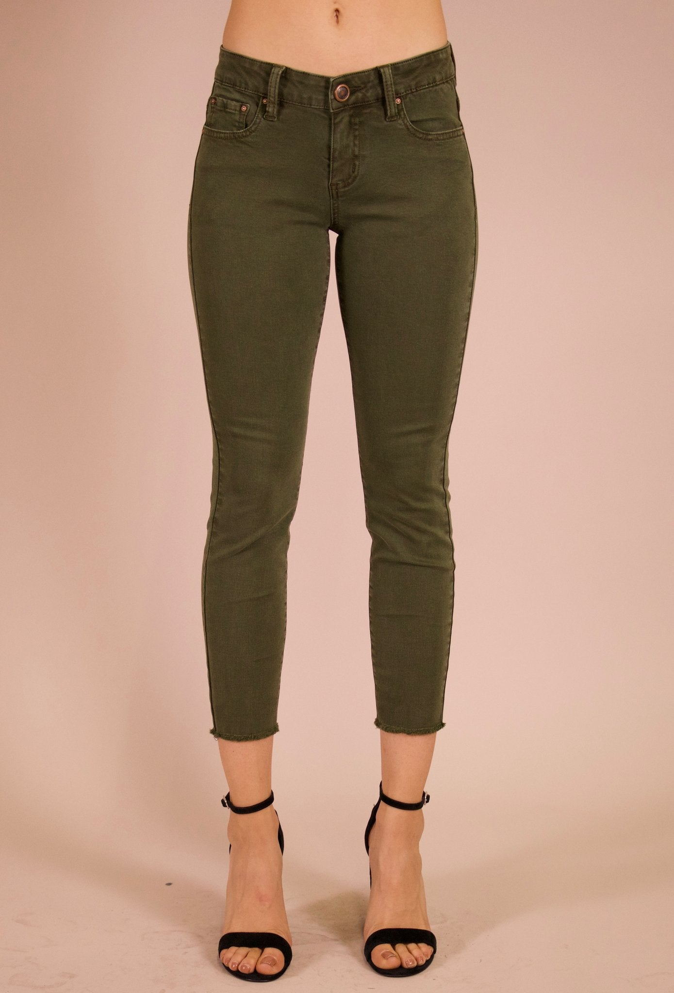 Angie Cropped Jeans in Fatigue Green