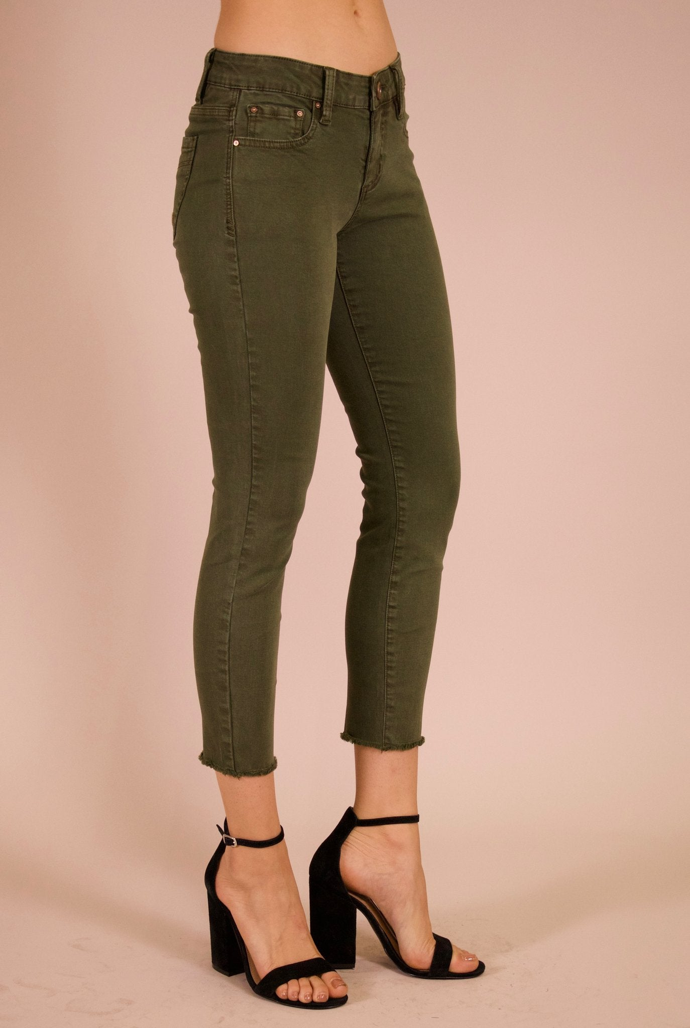 Angie Cropped Jeans in Fatigue Green - tempting-teal-boutique