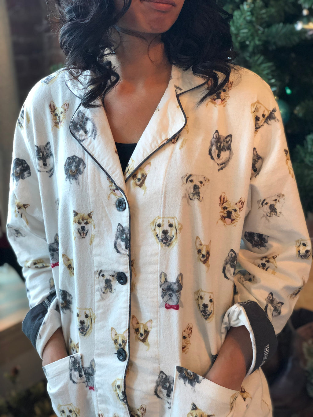 "PJ Salvage ""Think Pawsitivite"" Adult Pajama Set in Antique White"