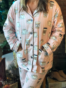 "PJ Salvage ""Rise and Grind"" Adult Pajama Set in Blush/Pink"