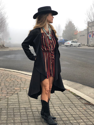 Draped Front Black Trench Coat