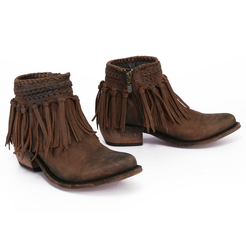 Liberty Black Laura Vegas Fringe Leather Boots in T-Moro