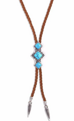 Shero Bolo Necklace in Silver w/ Turquoise