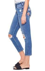 Silver Mazy Slim Crop Jeans w/ Rose Embroidery
