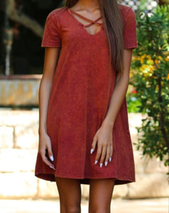 Mineral Wash Criss Cross Neck T-Shirt Dress