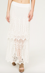 Double Layered Crochet Lace Maxi Skirt in Off White