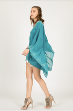 Long Sleeve Embroidered Kimono Poncho in Teal