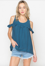 Short Sleeve Cold Shoulder Top w/ Ruffles in Navy