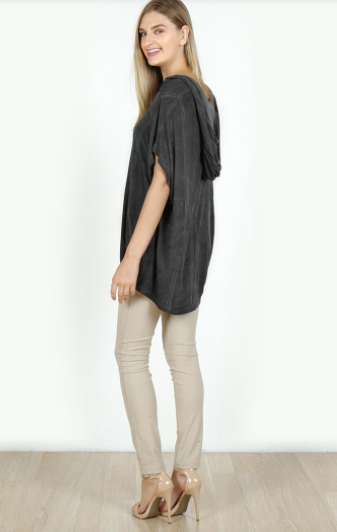 Short Sleeve  Acid Wash Loose Hoodie Top in Charcoal