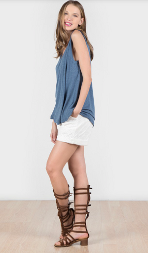 Sleeveless Two Tone Fabric Pleated Basic Top