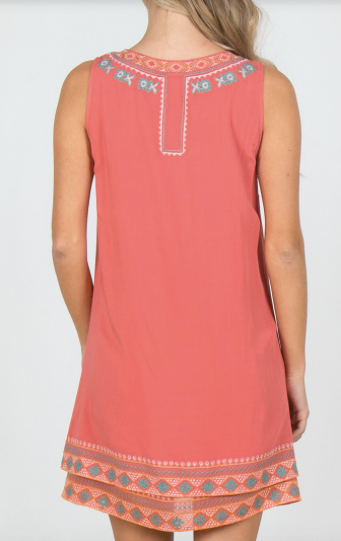 Sleeveless Woven Dress w/ Embroidered Neck Line in Blush
