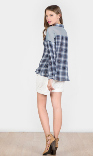 Long Sleeve Plaid Button Up Top w/ Mesh Back in Navy