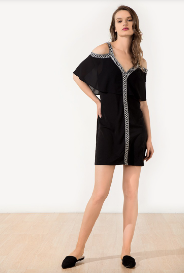 Short Sleeve Cold Shoulder Trim Cape Dress in Black