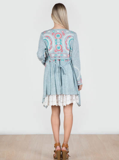 Floral Embroidered Cardigan w/ Belt in Blue