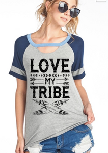 Love My Tribe Short Sleeve Graphic Top in Grey