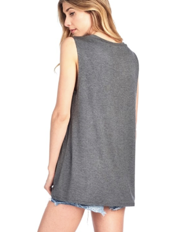 Good Vibes Graphic Sleeveless Top in Charcoal